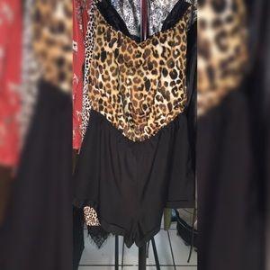 Pants - EXPRESS Leopard Strapless Romper